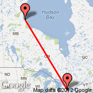 Churchill/Manitoba (Metropolitan Area, YYQ) - Toronto (Toronto Pearson International, YTO)
