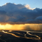 Rain shower over Albany River from the air.