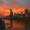 Melbourne sunset over the Yarra River